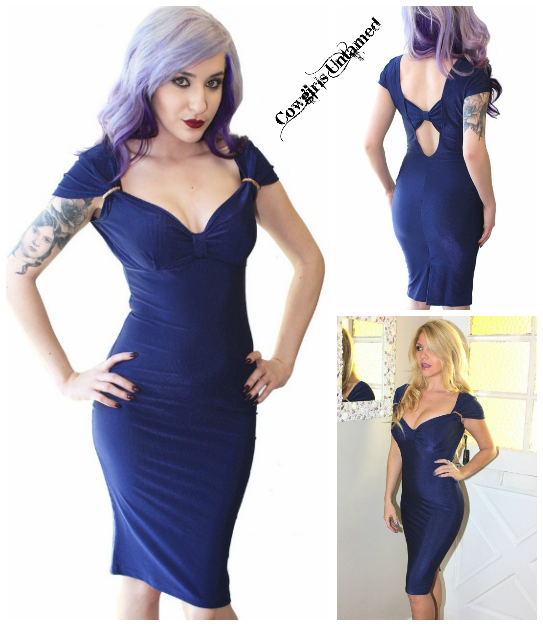 COWGIRL GLAM DRESS Midnight Blue Sweetheart Neckline with Bow Low Back Dress