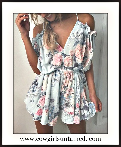 WILDFLOWER ROMPER Pastel Floral Open Back Off the Shoulder Ruffle Shorts Romper