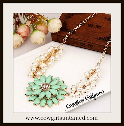 COWGIRL GLAM NECKLACE Mint Green Flower with Rhinestone Center on Pearl and Gold Chain Necklace with Custom Charm