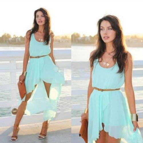 COWGIRL GYPSY DRESS Mint Green Sleeveless Chiffon Hi Lo Hemline Western Maxi Dress