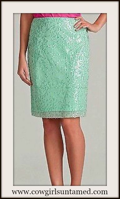 CALVIN KLEIN SKIRT Pastel Aqua Green Sequin Covered Calvin Klein Designer Pencil Skirt