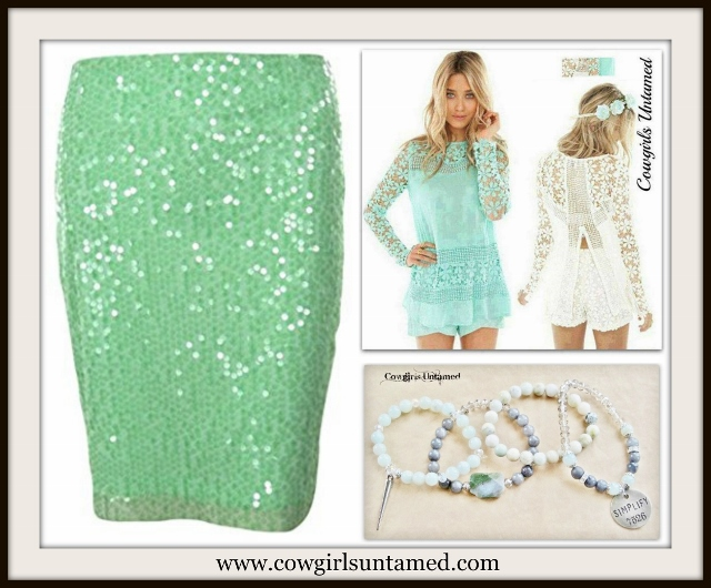 CALVIN KLEIN SKIRT Beautiful Mint Sequin Designer Pencil Skirt