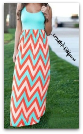 COWGIRL GYPSY DRESS Mint Green Pink & Coral Chevron Stripe SleevelessChiffon Western Maxi Dress