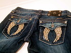 MISS ME JEANS Angel Wing Crystal Studded Bootcut Stretch Cowgirl Designer Western Denim Jeans