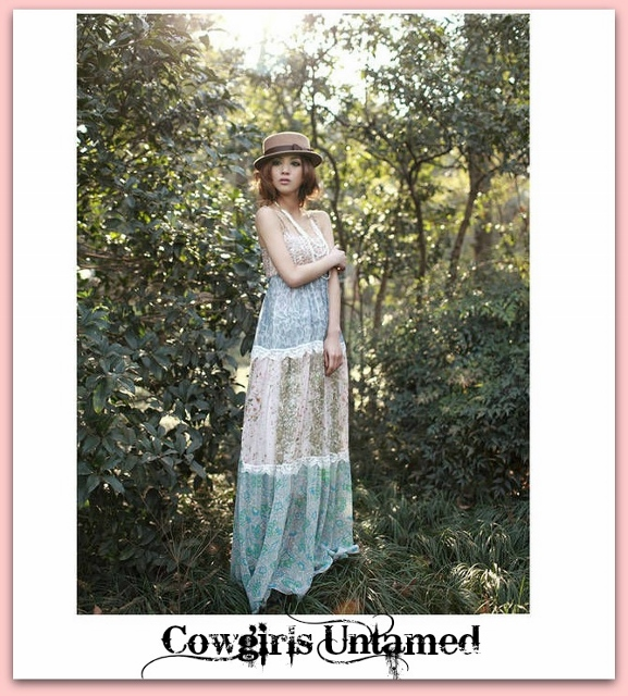 COWGIRL GYPSY DRESS Cream Lace Crochet Trim on Mixed Pattern Chiffon Lined Boho Lined Maxi Dress