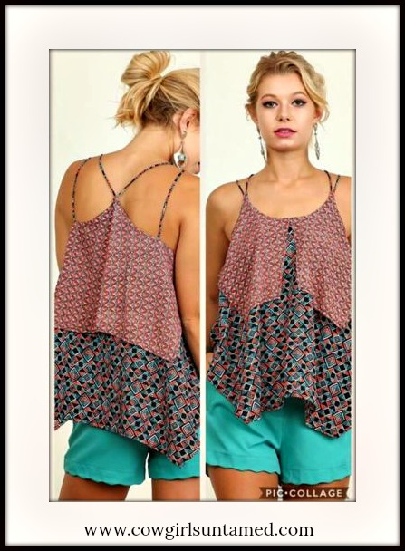 UMGEE TOP Mixed Pattern Sleeveless Tiered Loose Fit Strappy Back Top