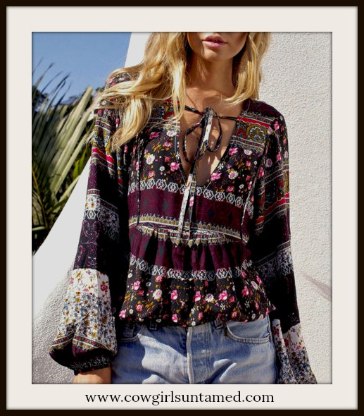 WILDFLOWER TOP Mixed Pattern Multi Color Ruffle  Long Sleeve Boho Top