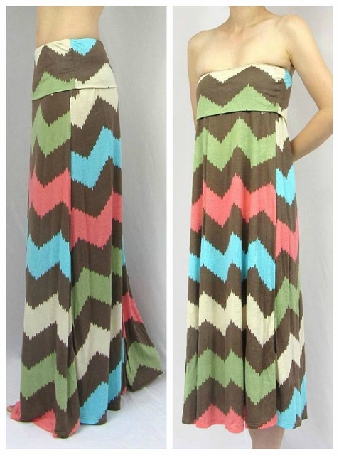 COWGIRL STYLE DRESS Mocha Green Cream Coral Blue Chevron Stripe Western Maxi Skirt N' Dress