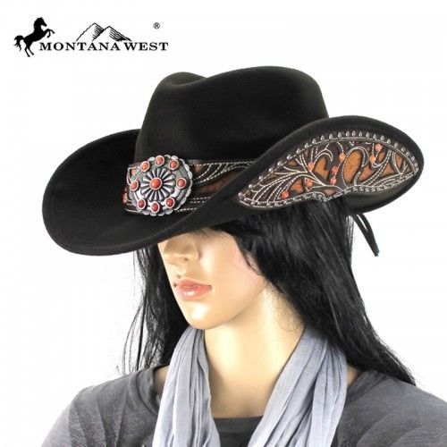COWGIRL STYLE HAT Orange Stone Daisy Concho  Inlay Sides Brown Cowgirl Hat