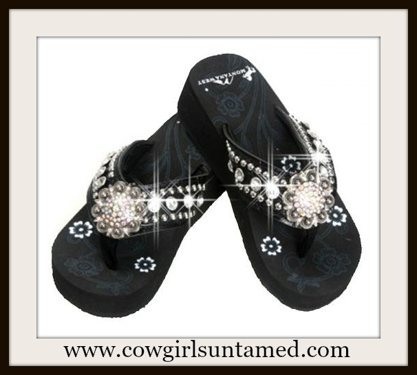 MONTANA WEST SHOES Large Crystal Concho & Rhinestone Silver Studded Black Heel Flip Flops