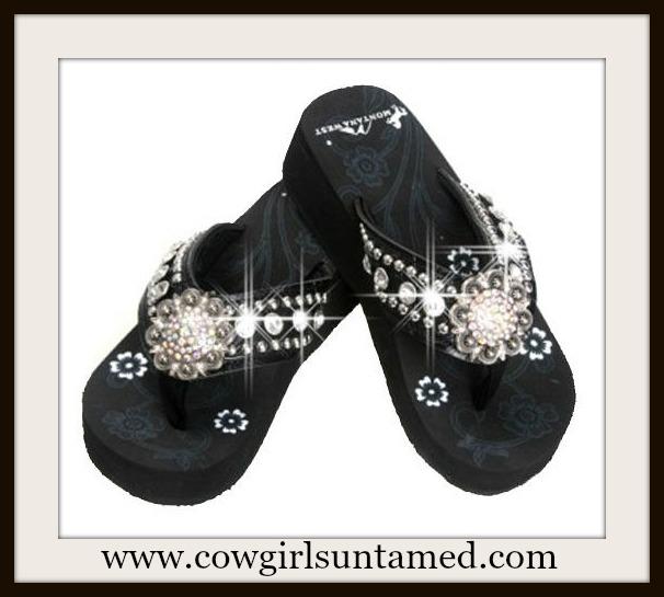 MONTANA WEST SHOES Large Crystal Concho & Rhinestone Silver Studded Black Heel Flip Flops