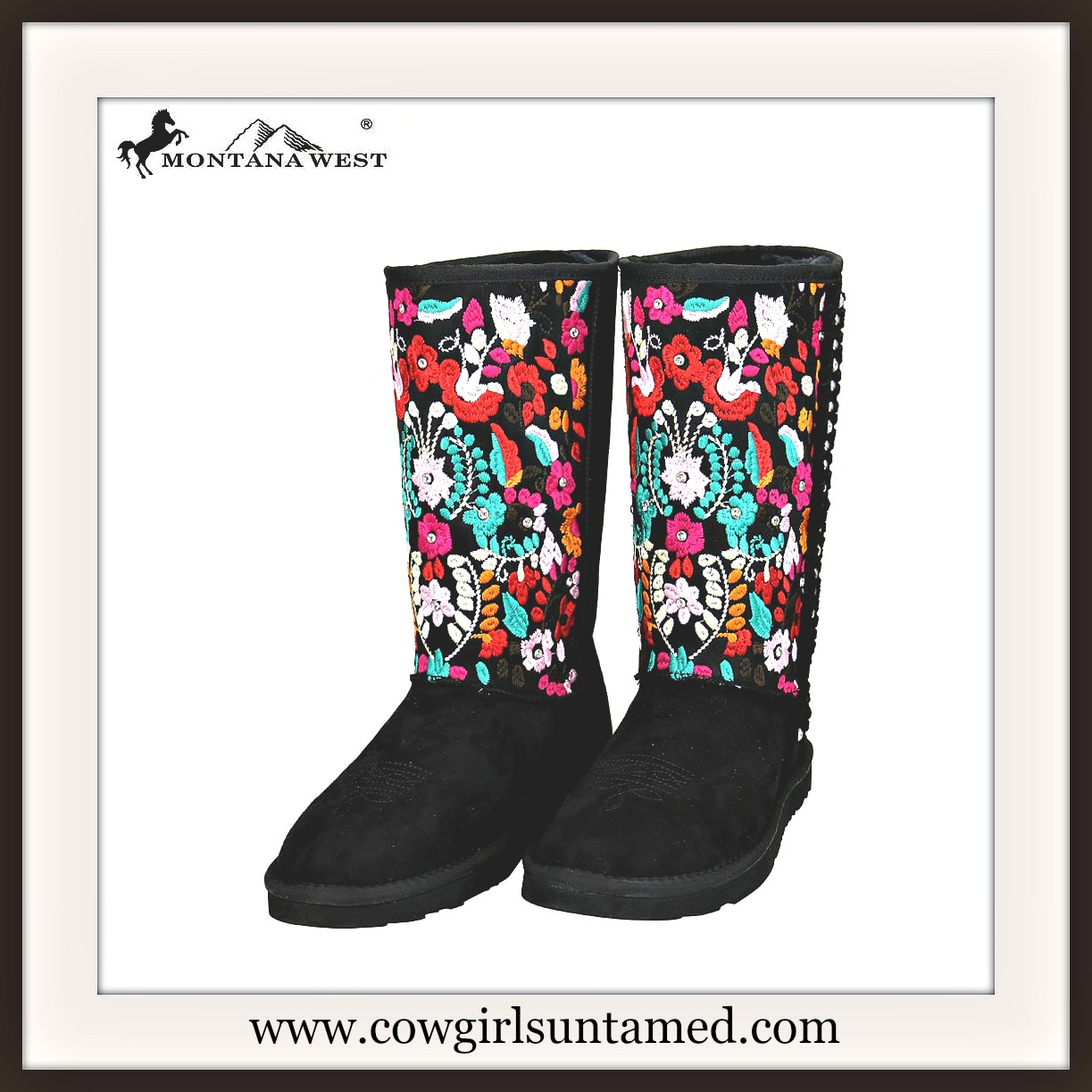 COWGIRL GYPSY BOOTS  Multi Color Embroidered Floral Design Fur Lined Black Suede Winter Boots
