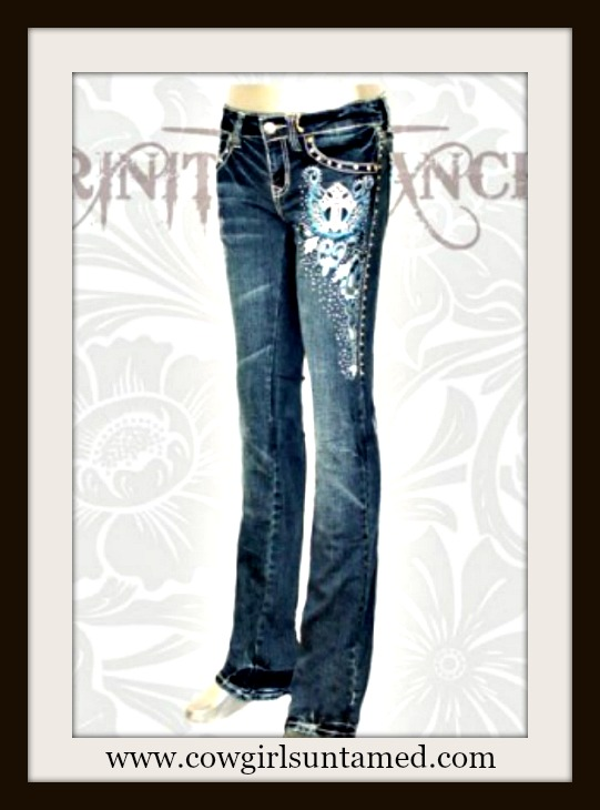 MONTANA WEST JEANS Horseshoe Embroidery Silver N Rhinestone Studded Stretchy Boot Cut Western Jeans