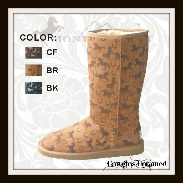 COWGIRL STYLE BOOTS Running Horses COMFY Fur Lined Cowgirl Western Boots