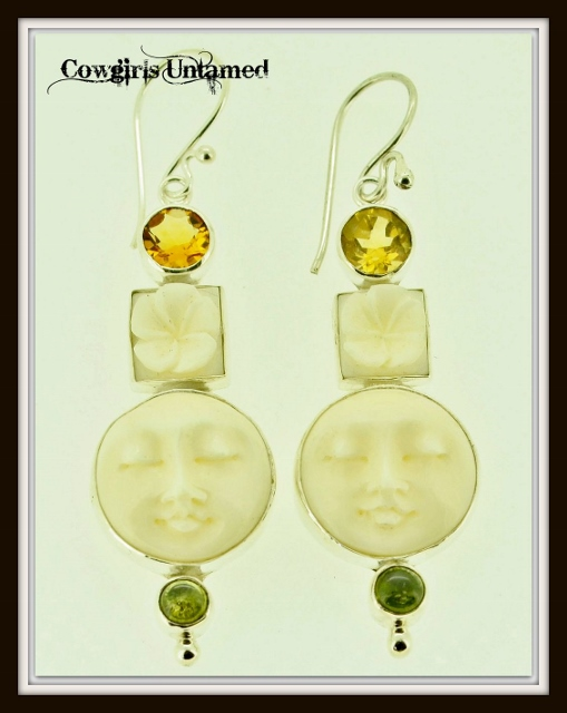 COWGIRL GYPSY EARRINGS Hand Carved Bone Moon and Flower with Citrine Gemstone Sterling Silver Earrings