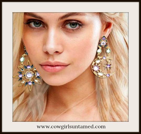 COWGIRL GYPSY EARRINGS Crystal Sun & Moon Gold Large Long Earrings