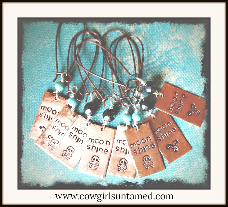 "COWGIRL ATTITUDE EARRINGS ""Moon Shine"" with Skull n Cross Bones Copper Earrings"