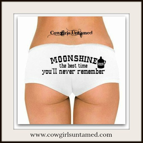 """COWGIRL ATTITUDE PANTY """"MOONSHINE the best time you'll never remember"""" White Low Rise Western Panty Hot Short"""