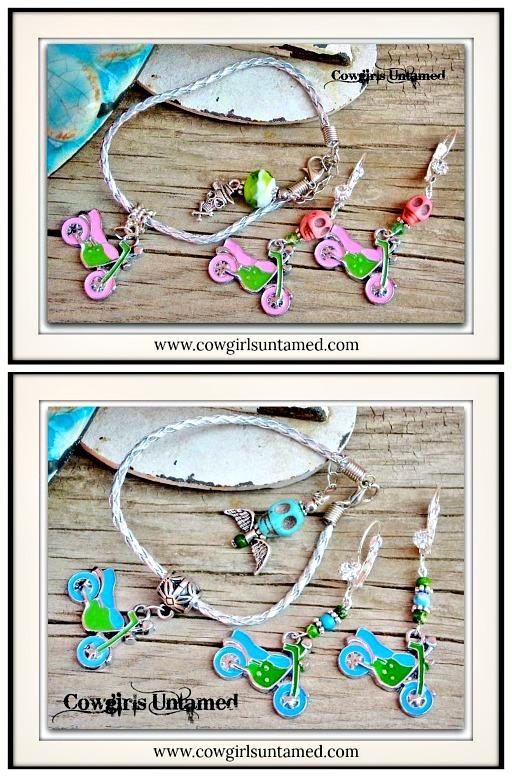 BIKER GAL BRACELET EARRING SET Motorcycle Leather Bracelet Earrings SET