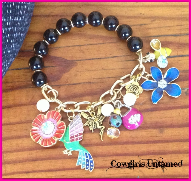 COUNTRY COWGIRL BRACELET Multi Color Charms on Beaded Gold Chain Stretch Western Bracelet