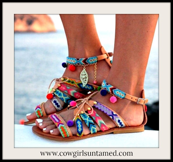 BOHEMIAN COWGIRL SANDALS Multi Color Embellished Tan Lace Up Boho Sandals