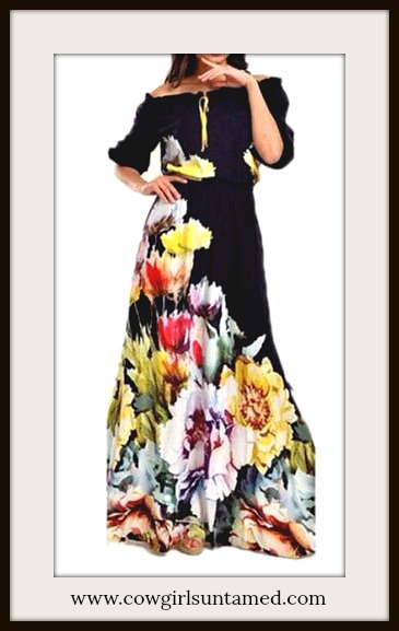 BOHEMIAN COWGIRL DRESS Multi Color Floral Off The Shoulder Black Boho Maxi Dress