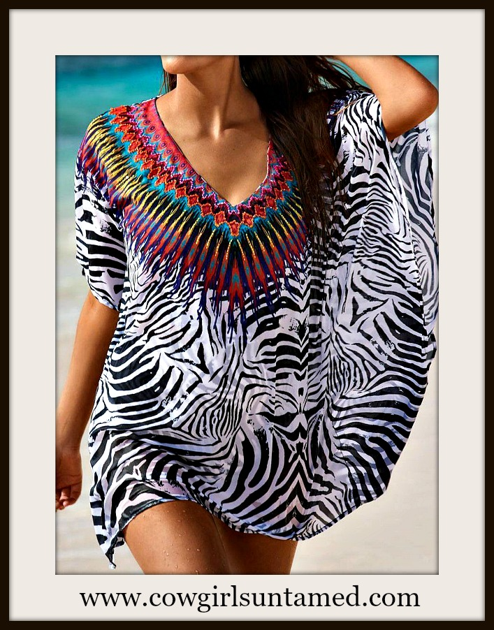 COWGIRL GLAM COVERUP Aztec Multi Color Neckline on Zebra Print Chiffon Cover Up