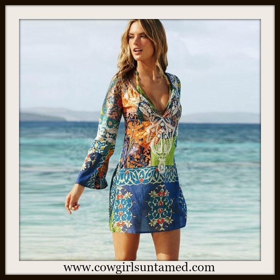 COWGIRL GYPSY DRESS Semi Sheer Multi Color Floral Boho Dress Coverup