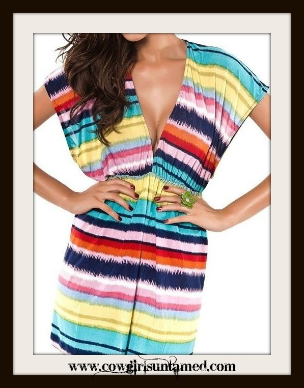 COWGIRL ATTITUDE COVER UP Multi Color Striped Dolman Sleeve Empire Waist V Neck Western Tunic Swimsuit Coverup