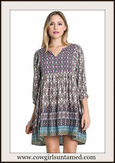 UMGEE DRESS Multi Color V Neck 3/4 Sleeve Designer Plus Size Boho Dress