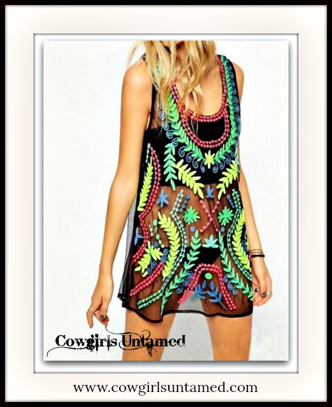 COWGIRL GYPSY TOP Multi Color Floral Print on Sheer Black Boho Tank Top / Cover Up