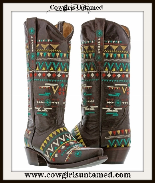 AMERICAN COWGIRL BOOTS Multi Color Embroidered Tribal Design Brown Leather Boots
