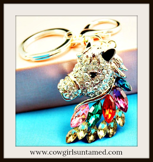 HORSE LOVIN' COWGIRL KEYCHAIN Beautiful Multi Color Crystal Golden Horse Head Key Chain