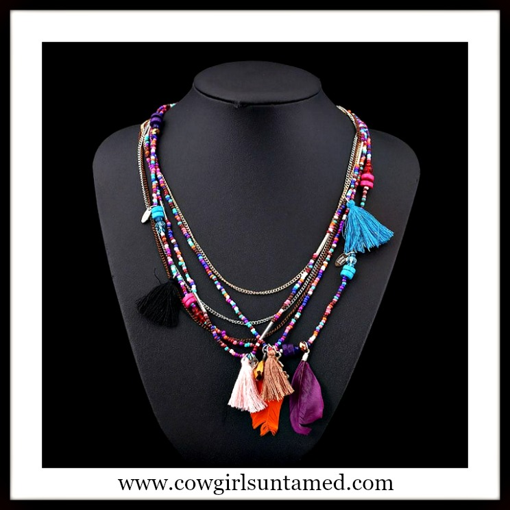 COWGIRL GYPSY NECKLACE Multi Color & Multi Strand Beaded Chain Tassel Ethnic Boho Necklace