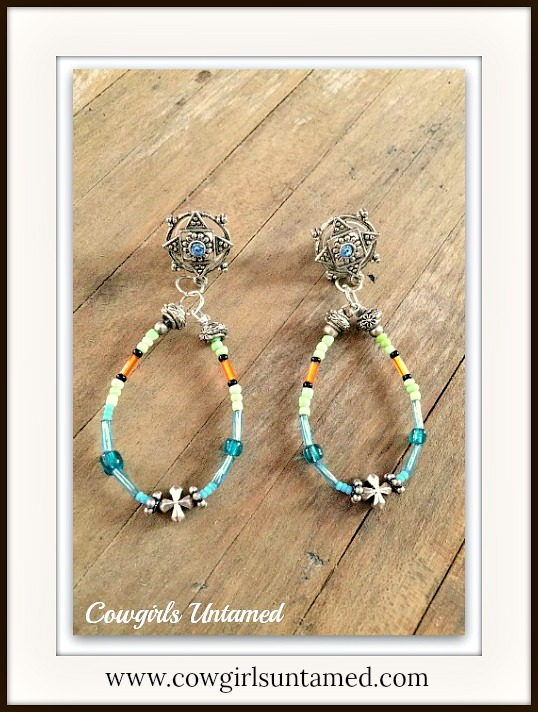 WESTERN COWGIRL EARRINGS Blue Beaded Hoop Earrings