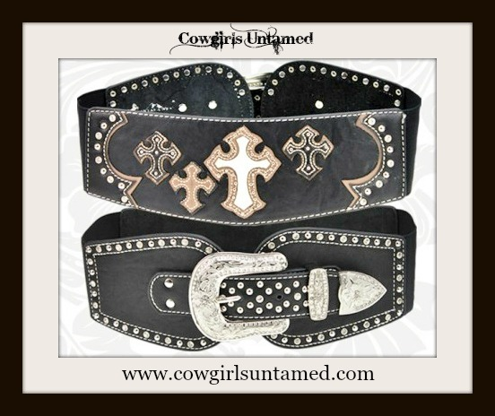 COWGIRL STYLE BELT Multi Layered Leather & Cowhide Crosses Rhinestone Studded Wide Stretchy Black Leather Belt