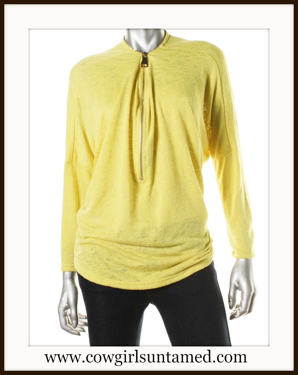 ALFANI SWEATER Yellow Burnout Zipper Neckline Long Sleeve Designer Sweater
