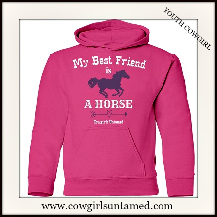 "LIL' COWGIRL HOODIE ""My Best Friend...""Purple Horse and Arrow Image Youth Sweatshirt"