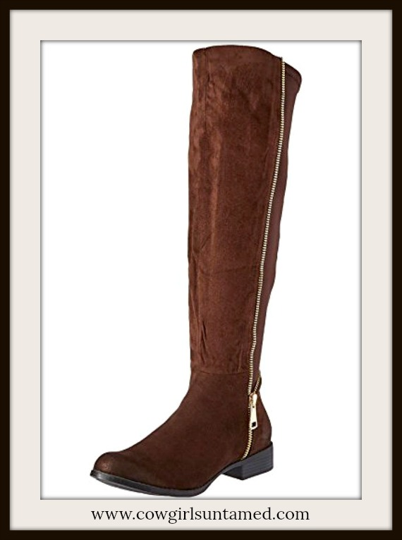 DREAM RANCH RIDING BOOTS Dark Brown Suede Golden Zipper Designer Boots