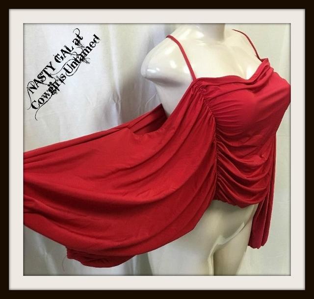NASTY GAL TOP Deep Red Long Sleeve Cold Shoulder Designer Top