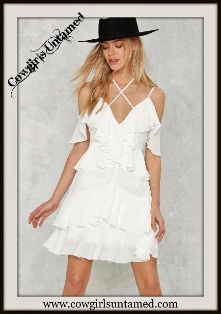 NASTY GAL DRESS Criss Cross Neckline White Ruffle Mini Dress