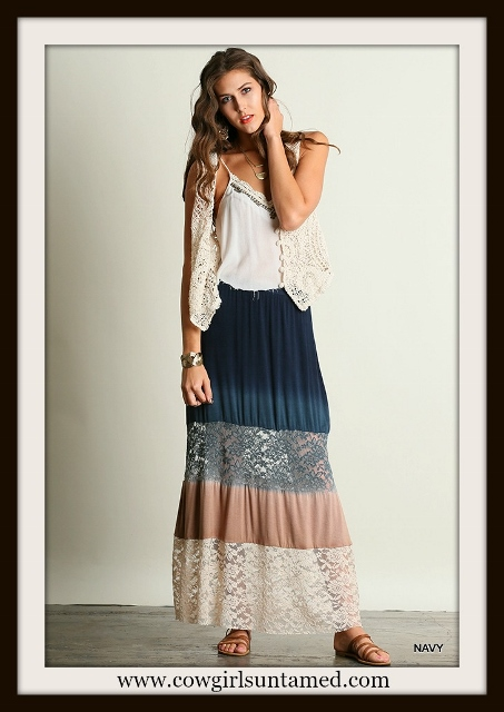 UMGEE LACE SKIRT Navy Blue to Mocha Ombre Lace Boho Maxi Skirt