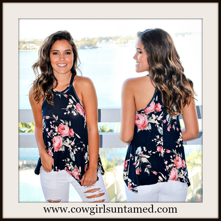WILDFLOWER TOP Navy Blue Floral Sleeveless Flowy Top