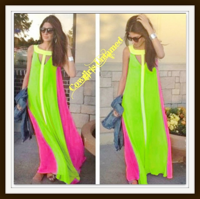 COWGIRL GLAM DRESS Neon Green Yellow and Pink Long Flowy Maxi Dress