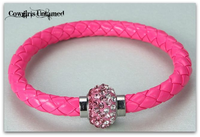 COWGIRL STYLE BRACELET Clear to Hot Pink Ombre Rhinestone on Pink Braided Leather Western Bracelet