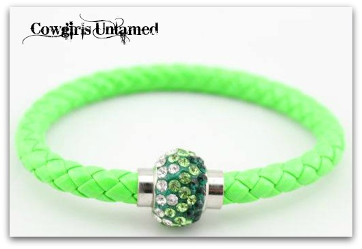 COWGIRL STYLE BRACELET Shades of Green Rhinestone Silver Magnetic Closure on NEON GREEN Braided Leather Western Bracelet