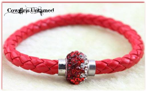 COWGIRL STYLE BRACELET Clear to Red Ombre Rhinestone Silver Magnetic Closure on RED Braided Leather Western Bracelet