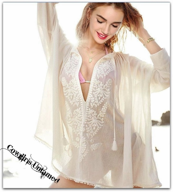 COWGIRL GYPSY TOP Off White Sheer Embroidered Oversized Tunic Top / Bikini Cover Up