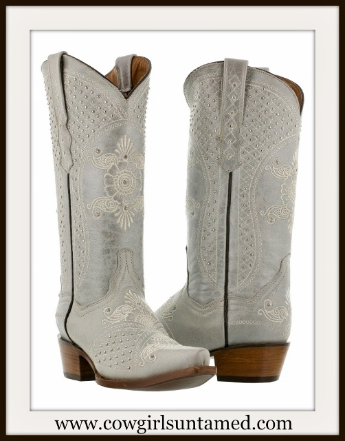 WILDFLOWER BOOTS Embroidered Floral Pattern Silver & Rhinestone Studded Off White Leather Boots