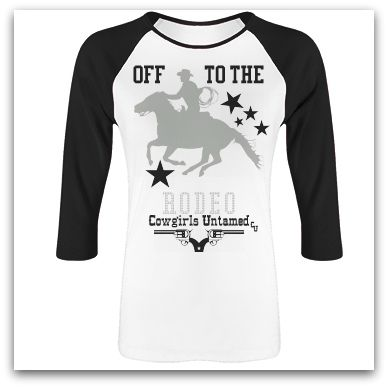 """RODEO REBEL TEE """"Off to the RODEO"""" Horse Stars Black Baseball Style Top"""